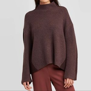 Prologue | Mock Neck Pullover Sweater Brown M
